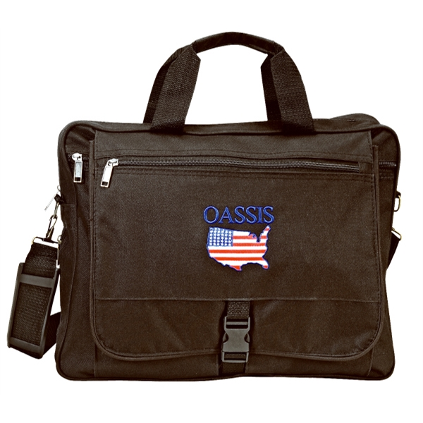 Embroidery - Expandable Executive Portfolio Bag With Shoulder Strap With Metal Hardware Photo