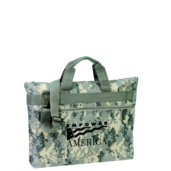 Embroidery - Digital Camouflage Document Portfolio Bag With Zippered Front Pocket And Handles Photo