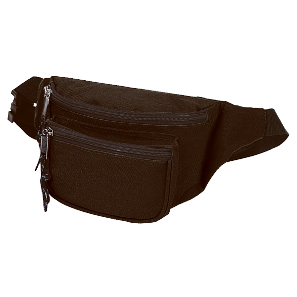 "Three-pocket Polyester Fanny Pack With Vinyl Backing And 50"" Adjustable Strap Photo"