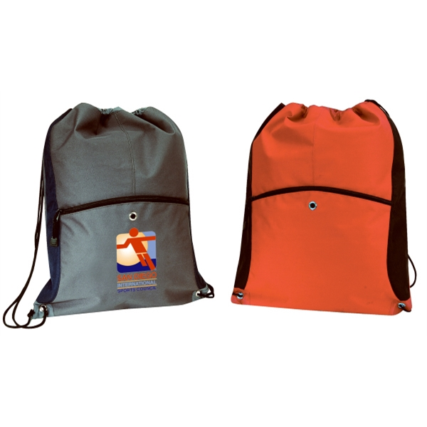 Embroidery - Large Drawstring Backpack Made Of 600-denier Polyester With Vinyl Backing Photo