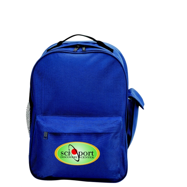 Embroidery - Polyester Backpack Bag With Vinyl Backing And Cross-stitched Back Straps Photo