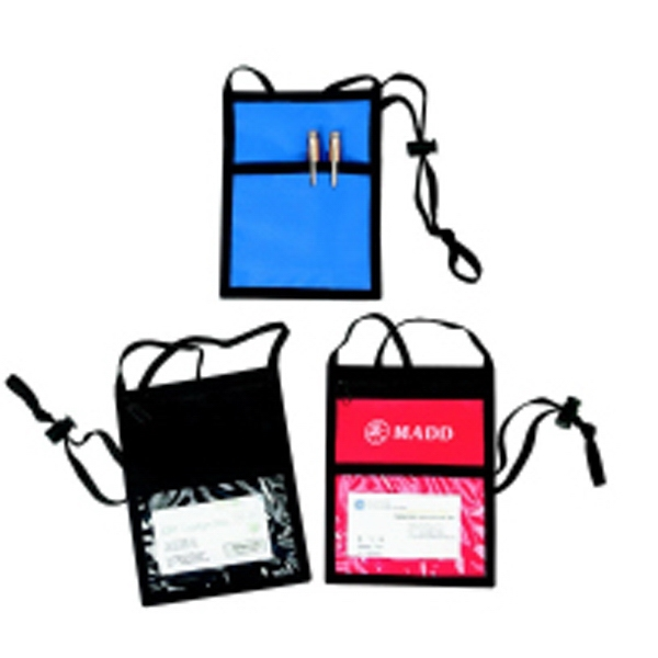 Silkscreen - Nylon Badge Holder With Plastic Strip For Ribbon Attachment And Neck Cord Photo