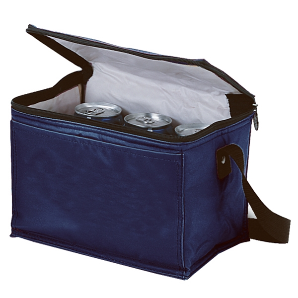 Silkscreen - Six-can Cooler Bag With Front Pocket, Contrasting Black Zipper And Handle Photo