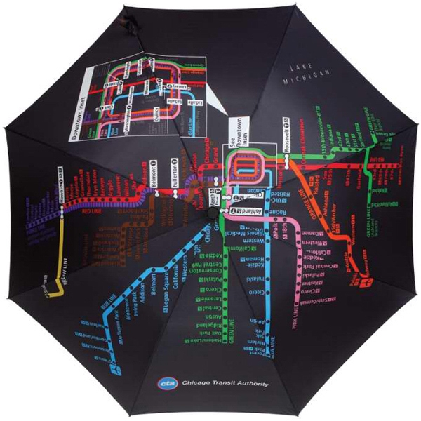 "Subway Automatic Open Umbrella With Map Of Chicago Subway System; 43"" Arc Photo"