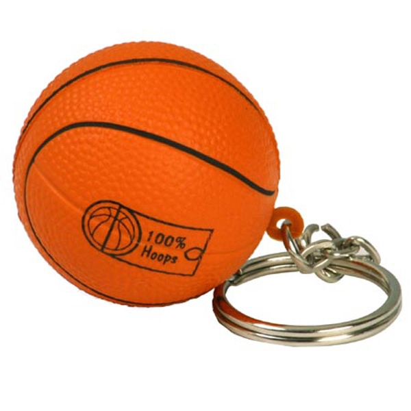 "Basketball Shape Stress Reliever Key Chain, 1 1/2"" Diameter Photo"