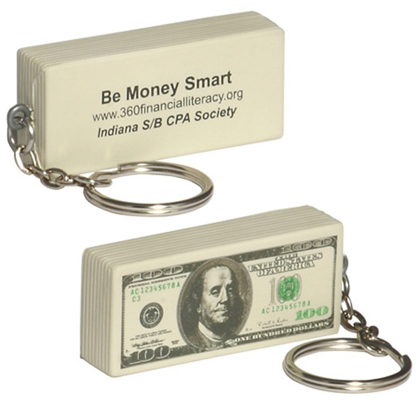 One Hundred Dollar Bill Shape Stress Reliever With Key Chain Photo