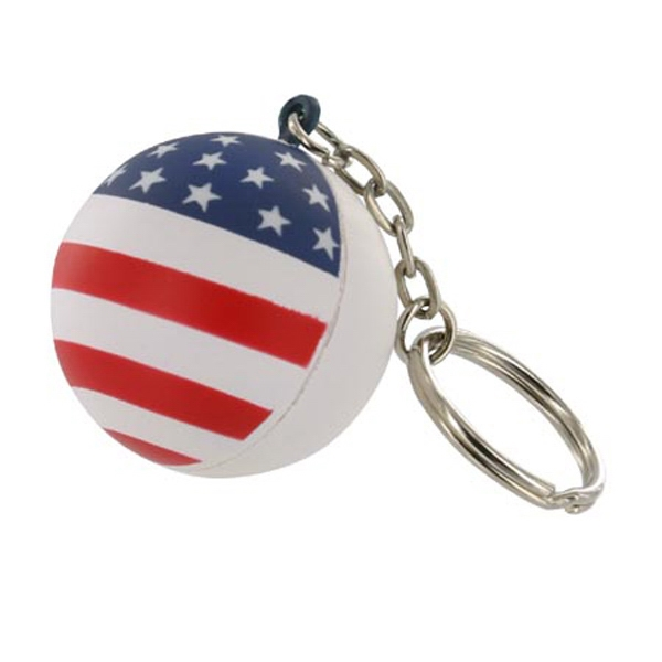 Patriotic Stress Reliever Ball With Key Chain Photo