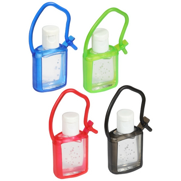 Cool Clip - Gel Hand Sanitizer In Colored Rubber Tagalong Case; .50 Oz Of Antibacterial Gel Photo