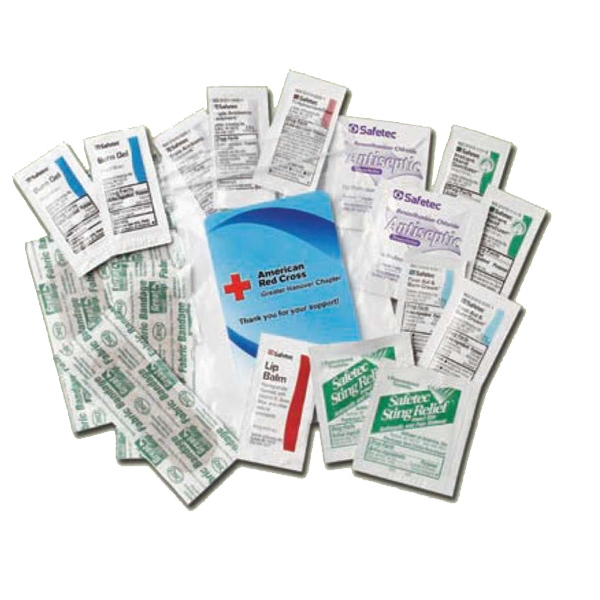 First Aid Kit Contains Wipes, Burn Gel, Bandages, Ointment, Cream, Lip Balm Etc Photo