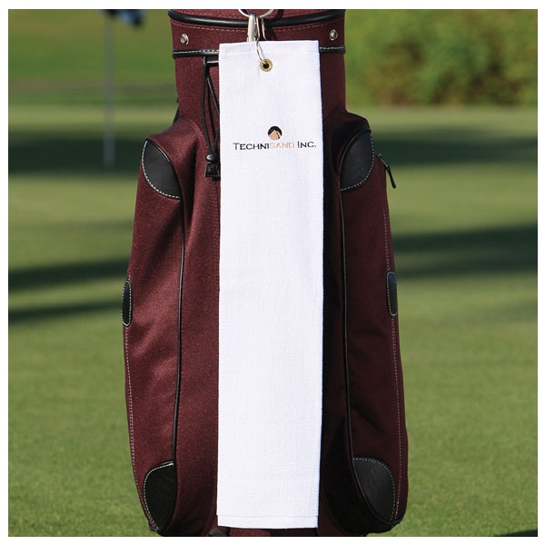 "Jewel Collection - 7 Working Days - Embroidery - White Hemmed Lightweight Tri-fold Golf Towel, 15"" X 24"", 100% Cotton Photo"