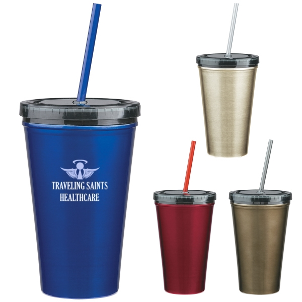 16 Oz. Stainless Steel Tumbler With Straw Photo