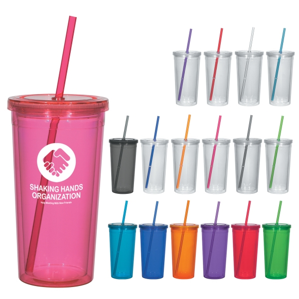 24 Oz. Double Wall Acrylic Tumbler With Straw Photo