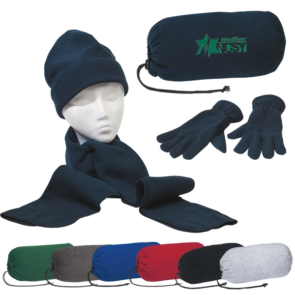 Keep Warm Buddy - Brushed Polyester Fleece Scarf, Gloves And Cap Set In A Drawstring Bag Photo