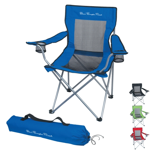 Mesh Folding Chair With Carrying Bag And 2 Mesh Cup Holders Photo
