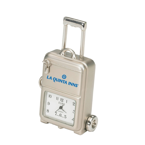 Silver Die Cast Luggage On Wheels Replica Desk Clock Photo