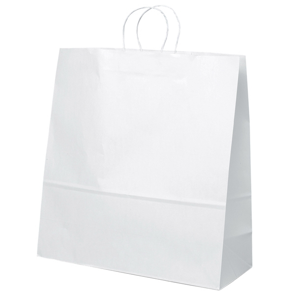 Duke Shopper - White Kraft Paper Shopping Bag With Matching Twisted Paper Handles Photo