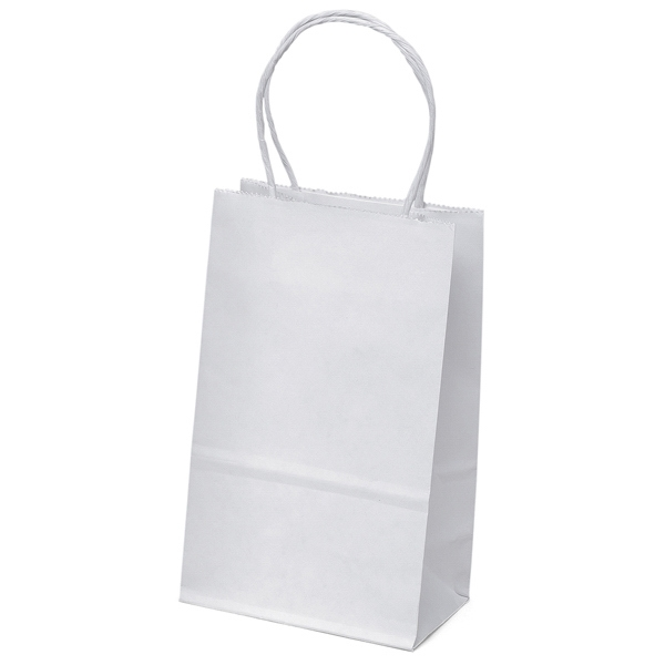 Pup Shopper - White Kraft Paper Shopping Bag With Matching Twisted Paper Handles Photo