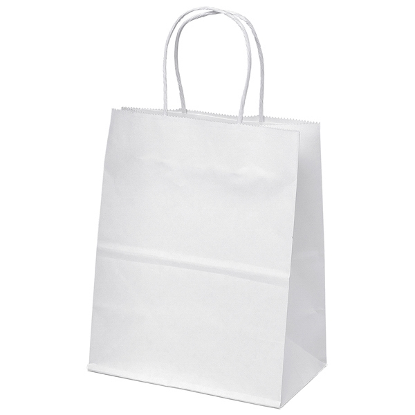 Mini Shopper - White Kraft Shopping Bag With Matching Twisted Paper Handles & Serrated Cut Top Photo