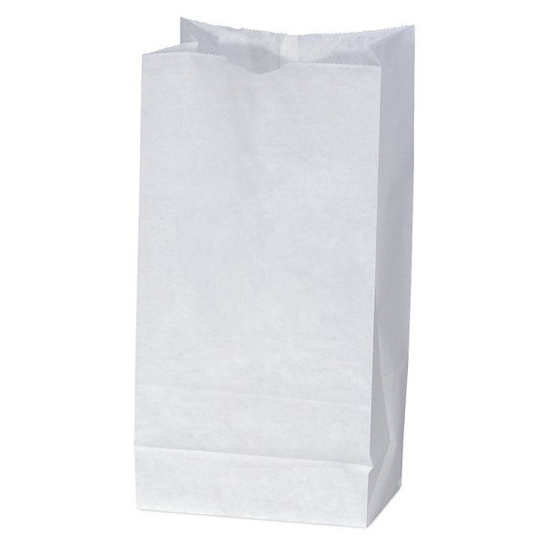 White Unlined Paper Peanut Bag With Serrated Cut Top, Side & Bottom Gussets Photo