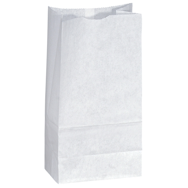 White Popcorn Paper Bag, Unlined With Serrated Cut Top, Side & Bottom Gussets Photo