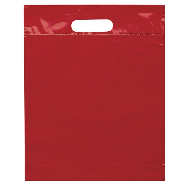 "12"" X 15"" X 3"" - Plastic Bags With Reinforced Die Cut Handles; Recyclable, Reusable Photo"