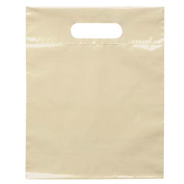 "9.5"" X 12"" - Plastic Bags With Reinforced Die Cut Handles; Recyclable, Reusable Photo"