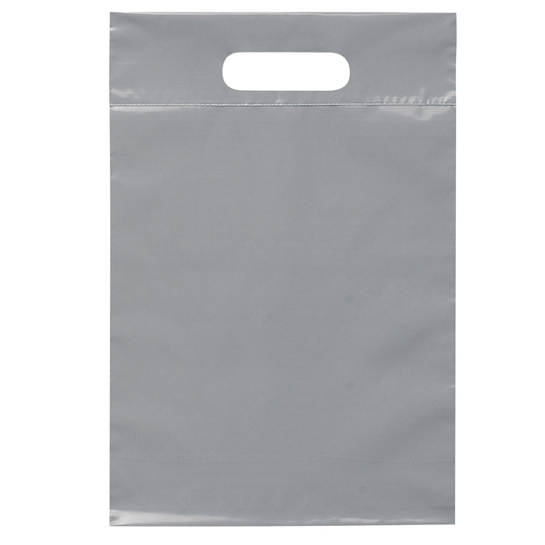 "9.5"" X 14"" - Plastic Bags With Reinforced Die Cut Handles; Recyclable, Reusable Photo"