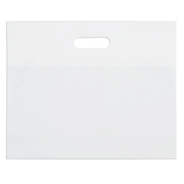 "16"" X 13"" - White Die Cut Plastic Handle Bag With Fold-over Reinforced Die Cut Handles Photo"