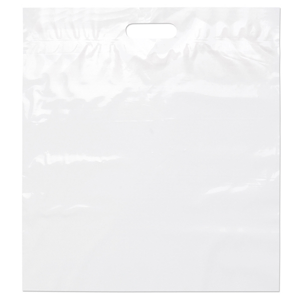 "18"" X 20"" X 4"" - White Die Cut Plastic Handle Bag With Fold-over Reinforced Die Cut Handles Photo"