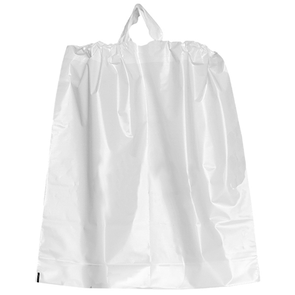 White 2.5 Mil Thick Ink Imprinted Plastic Draw Bag With Cotton Draw String Closure Photo