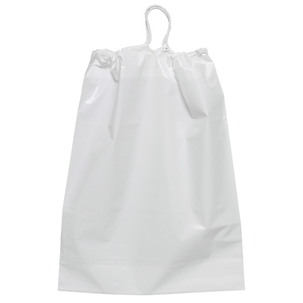 White 2.5 Mil Plastic Bag With Cotton Draw String Closure And Bottom Gusset Photo