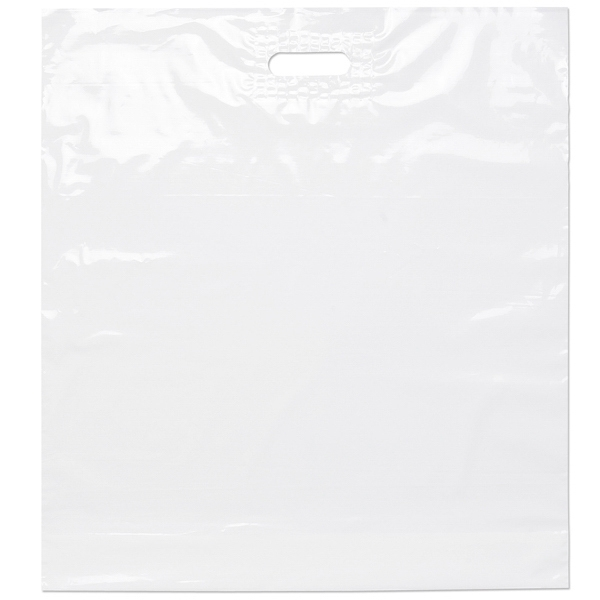 "22"" X 24"" X 5"" - White Die Cut Plastic Handle Bag With Fold-over Reinforced Die Cut Handles Photo"