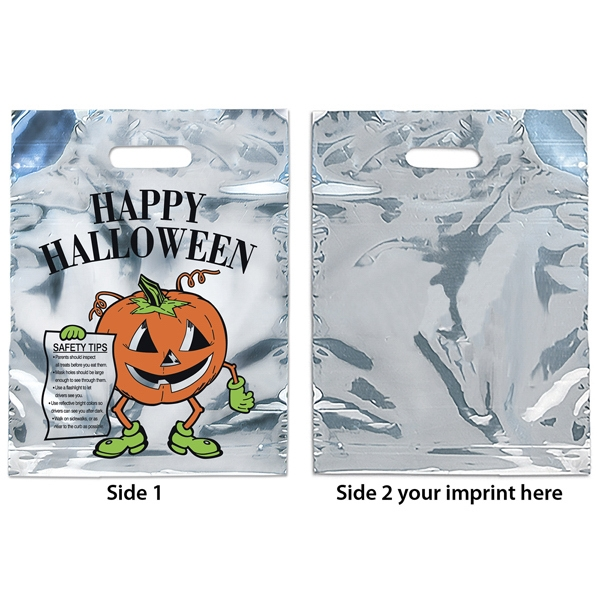 Silver Reflective Halloween Bag With Pumpkin Design, 2.5 Mil Photo