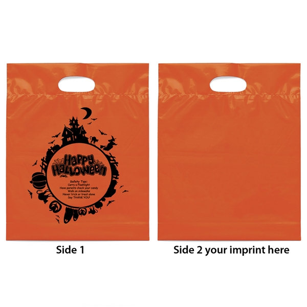 "Orange Halloween Bag With ""fright Night"" Design And Bottom Gusset Photo"