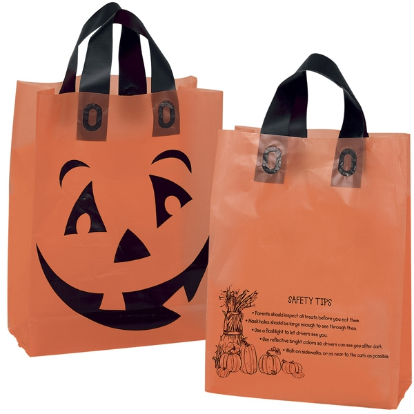 Shopper - Orange Frosted Pumpkin Shopping Bag With Black Soft Loop Handles Photo