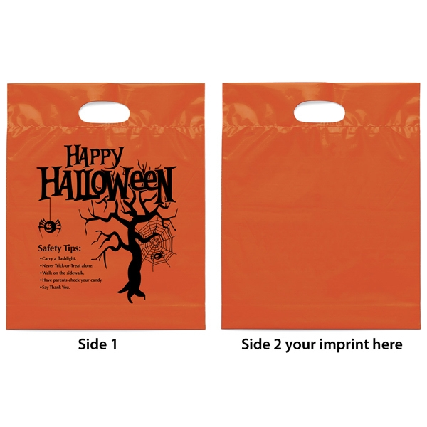"Orange Die Cut Handle Plastic Bag With ""happy Halloween'"" Design Photo"