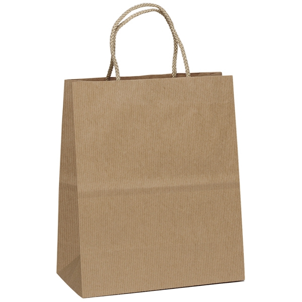 Uptown Shopper Hollywood - Kraft Paper Shopping Bag With Mirage Stripe Pattern Finish And Fold-over Top Photo