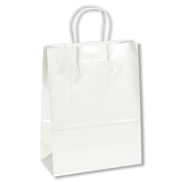 Amber Shopper - White Bag - Gloss Shopping Bag With Twisted Paper Handles And Serrated Cut Top Photo