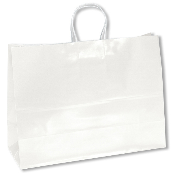 Aubrie Shopper - White Bag - Gloss Paper Shopping Bag With Twisted Kraft Paper Handles And Serrated Cut Top Photo