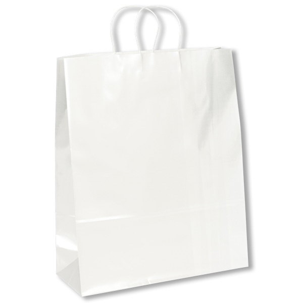 Anna Marie Shopper - White - Gloss Shopper Bag With Twisted Kraft Paper Handles And Serrated Cut Top Photo