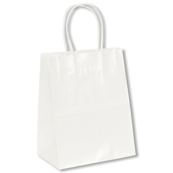 Amanda Shopper - White - Gloss Paper Shopping Bag With Serrated Cut Top & Twisted Kraft Paper Handles Photo