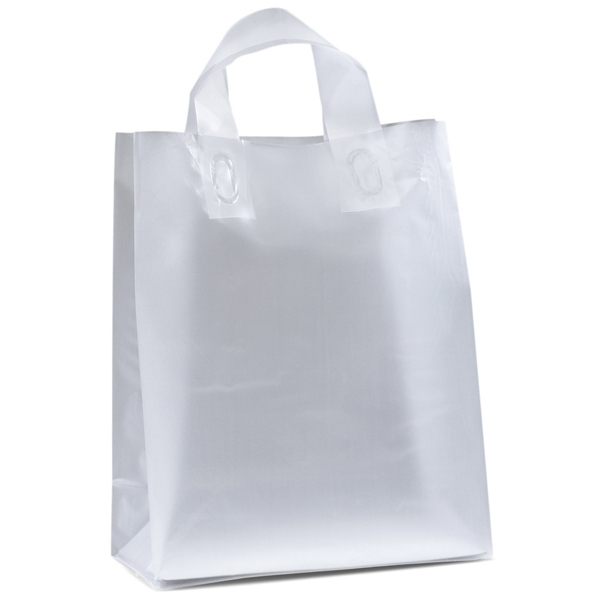 Sparkle Frosted Shoppers - Hi-density Frosted Plastic Bag With Fused Loop Handles And Flexographic Imprint Photo