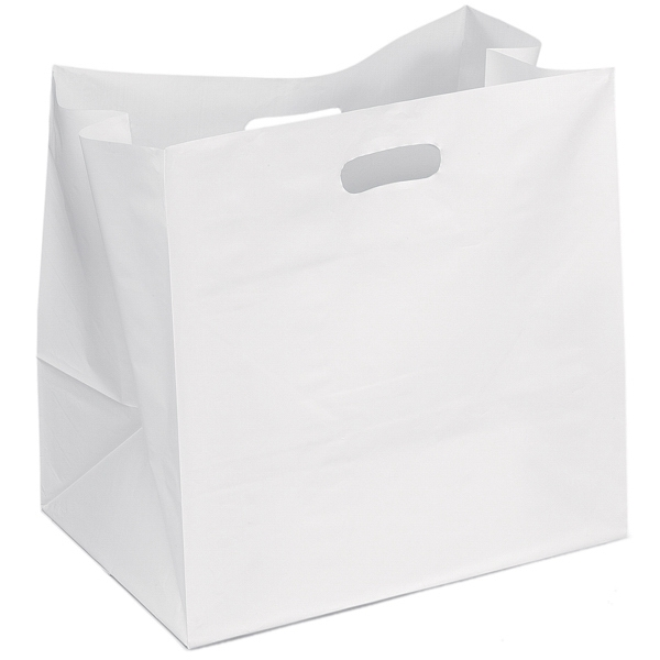 Chuckwagon - Hi-density White Plastic Die Cut Handle Bag With Cardboard Bottom Insert Photo