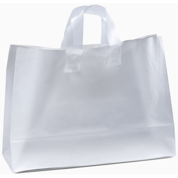 Saturn Frosted Shoppers - Frosted Plastic Shopping Bag With Fused Loop Handles And Cardboard Bottom Insert Photo