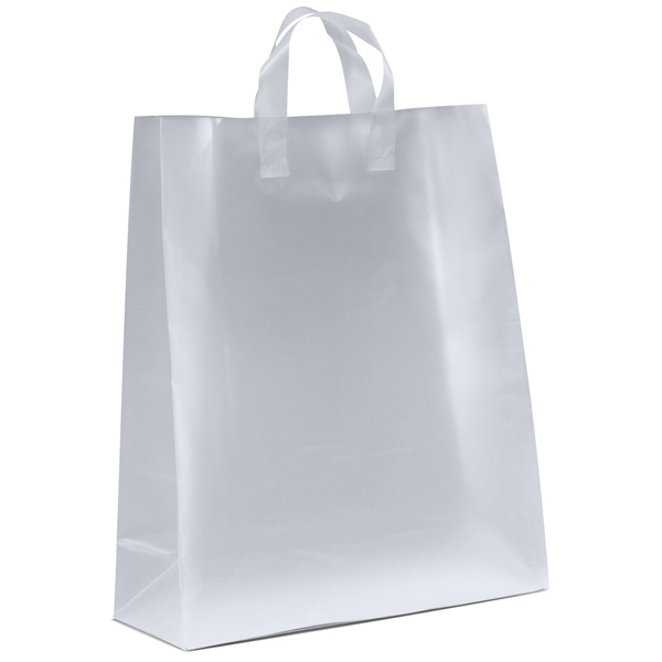 Jupiter Frosted Shoppers - Frosted Plastic Bag With Fused Loop Handles And Cardboard Bottom Insert Photo