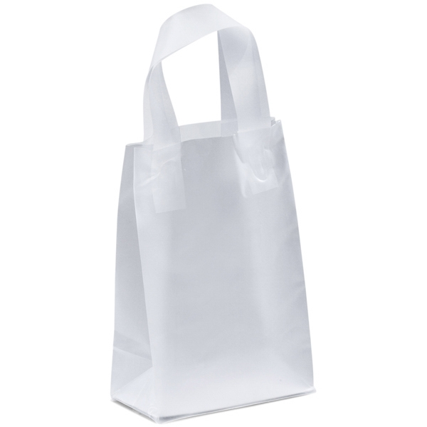 Pluto Frosted Shoppers - Frosted Plastic Bag With Fused Loop Handles And Cardboard Bottom Insert Photo