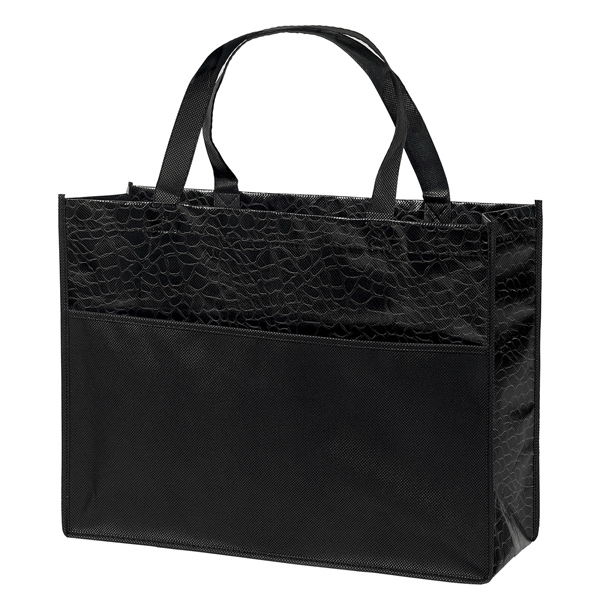 Couture - Gloss Laminated Tote Bag With Black Tone-on-tone Reptile Design Photo