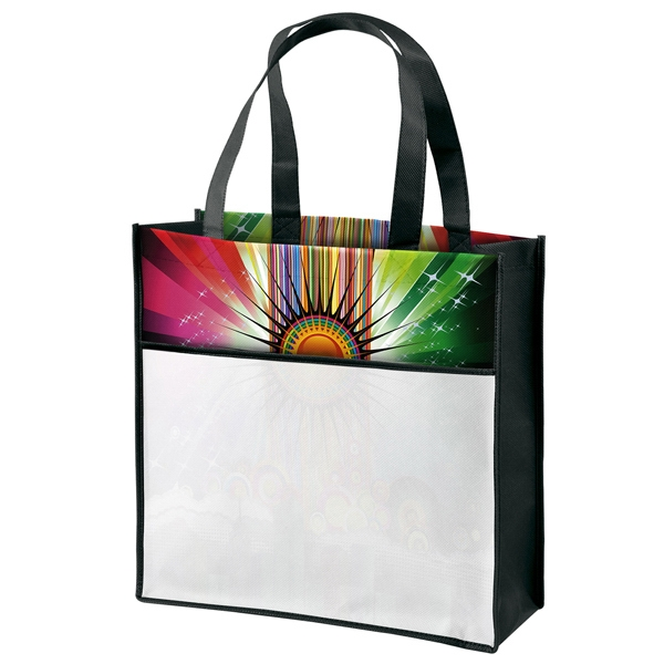 Cosmo (tm) - Gloss Laminated Tote Bag With Vibrant Cityscape Design And Pocket On Front Photo