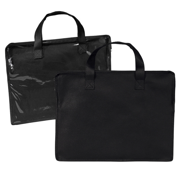 Black Portfolio With Clear Plastic Front, Zipper Closure And Carrying Handles Photo