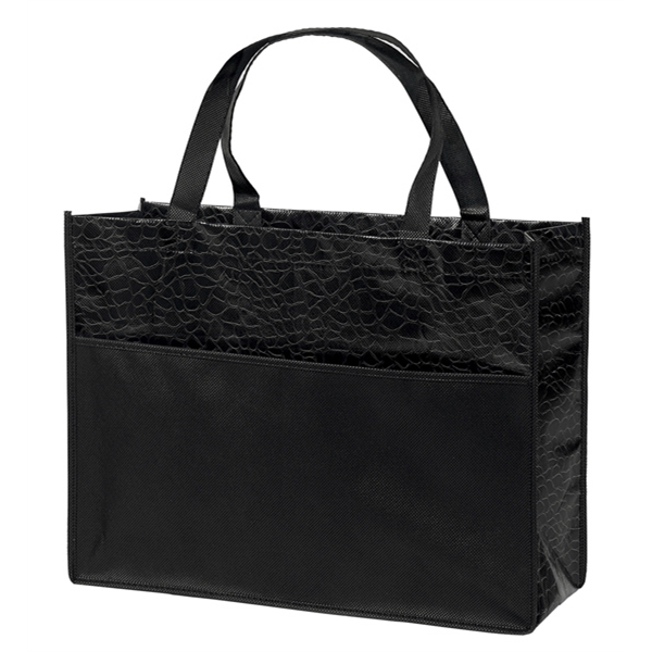 Couture - Gloss Laminated Tote Bag With Tone-on-tone Reptile Design And Front Pocket Photo